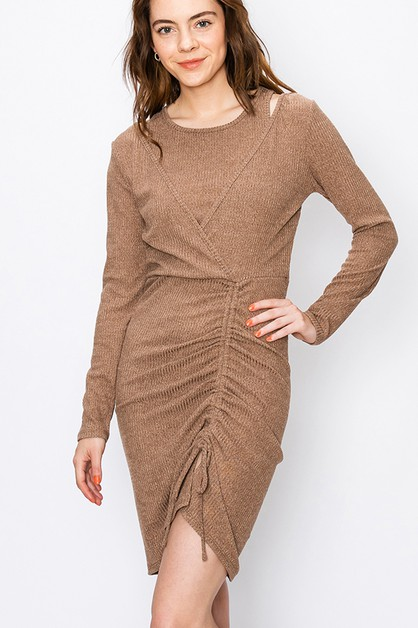 BODYCON DRESS WITH RUCHE SIDE DETAIL - orangeshine.com