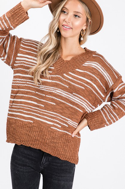 V NECK LONG SLEEVE KNITTING SWEATER - orangeshine.com