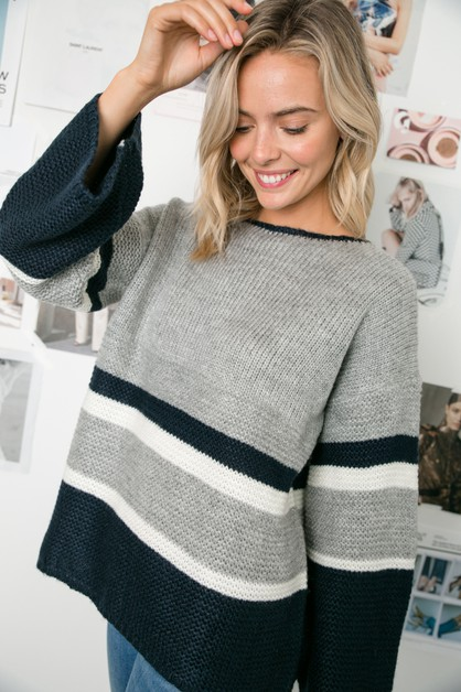 COLOR BLOCK WIDE SLEEVE BOXY SWEATER - orangeshine.com