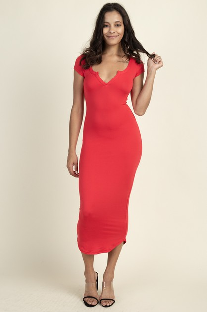 Split Neck Bodycon Long Dress - orangeshine.com