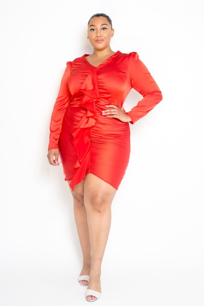 Plus Size Puff Shoulder Wrinkle Dres - orangeshine.com