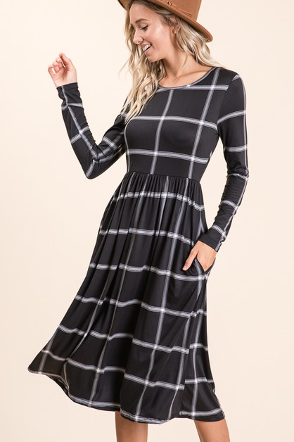 Long Sleeve Striped Midi Dress - orangeshine.com