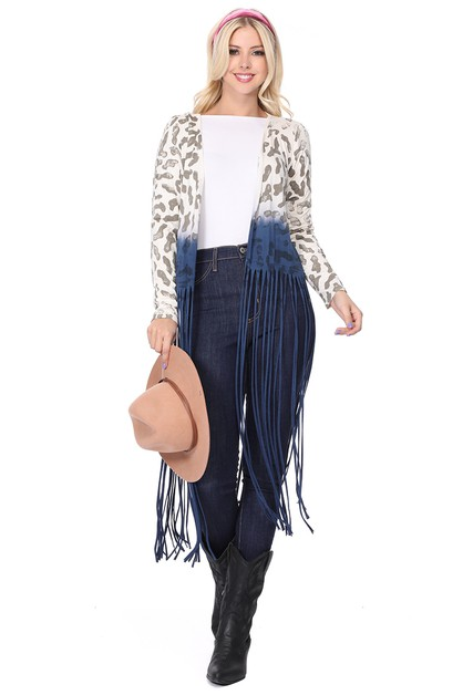 ANIMAL PRINT OMBRE LONG CARDIGAN - orangeshine.com