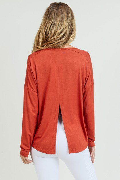 Long Sleeve Tie Back Athleisure Top - orangeshine.com