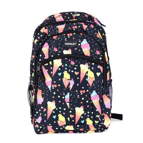 Ice Cream Pattern Black Backpack - orangeshine.com