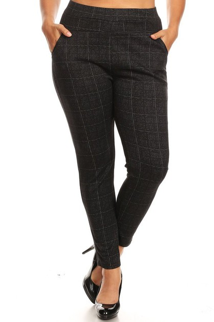 Plus Size Skinny Pants Plaid Winter - orangeshine.com