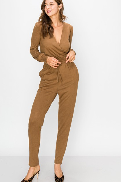 SURPLICE JUMPSUIT WITH ROPEWAIST TIE - orangeshine.com