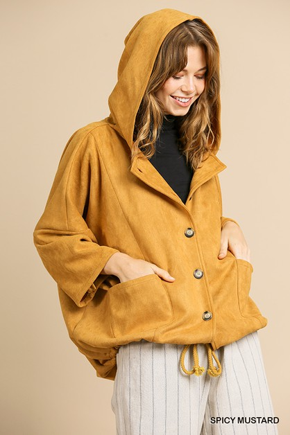 Suede Roll Up Hooded Jacket  - orangeshine.com