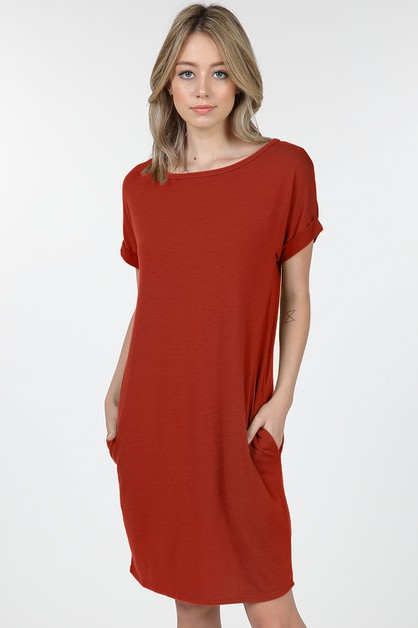 Basic Short Sleeve Round Neck Dress  - orangeshine.com