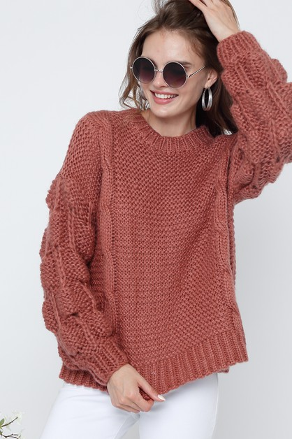 MOCK NECK LONG SLEEVE CROCHET SWEATE - orangeshine.com
