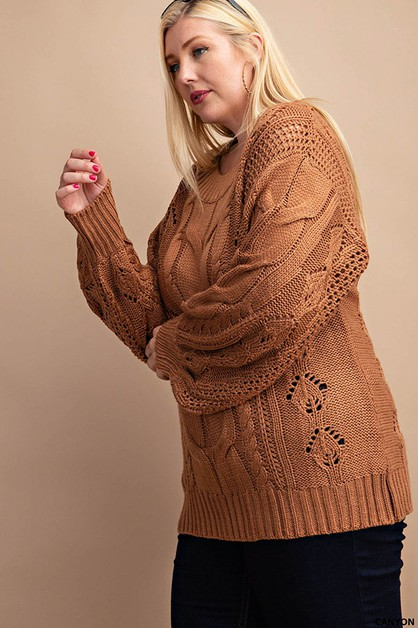 CABLE DETAILED PUFF SLEEVES SWEATER - orangeshine.com