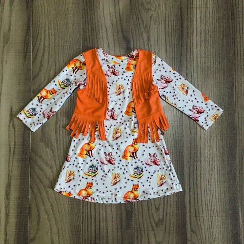 Wild animals Dress with Tassel vest  - orangeshine.com