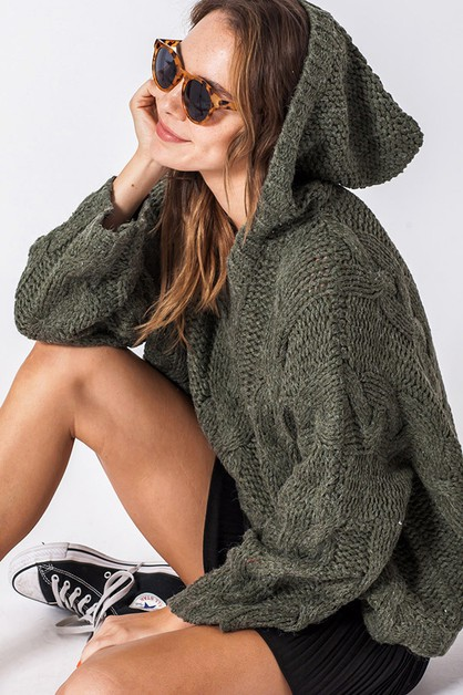 OVERSIZED KNIT SWEATER WITH HOODIE - orangeshine.com