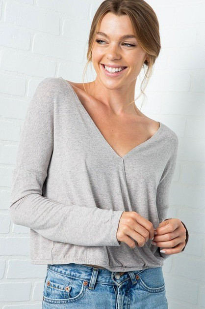 SURPLICE MARLED LONG SLEEVE CROP TOP - orangeshine.com