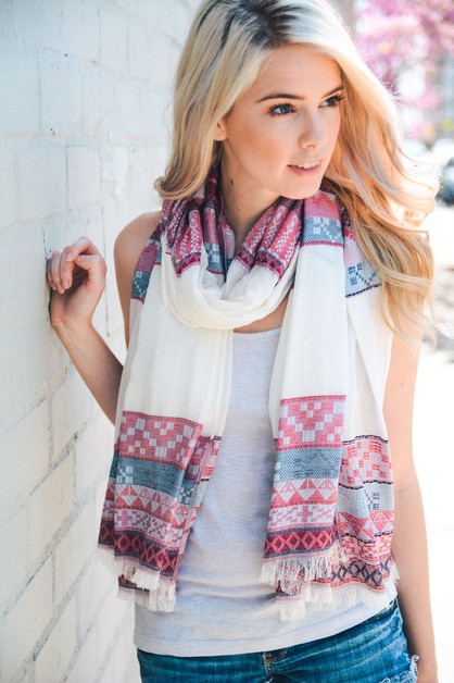 Multi Pattern Striped Scarf - orangeshine.com