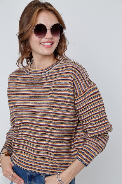 Multi striped round neck sweater kni - orangeshine.com