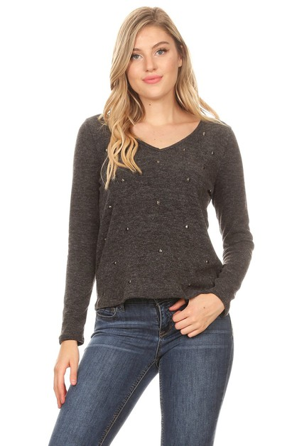 JEWELED V-NECK SWEATER - orangeshine.com