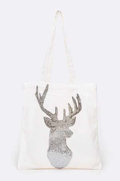 Iconic Sequin Deer Cotton Tote - orangeshine.com