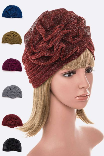 Lurex Metallic Flower Turban Hat Set - orangeshine.com