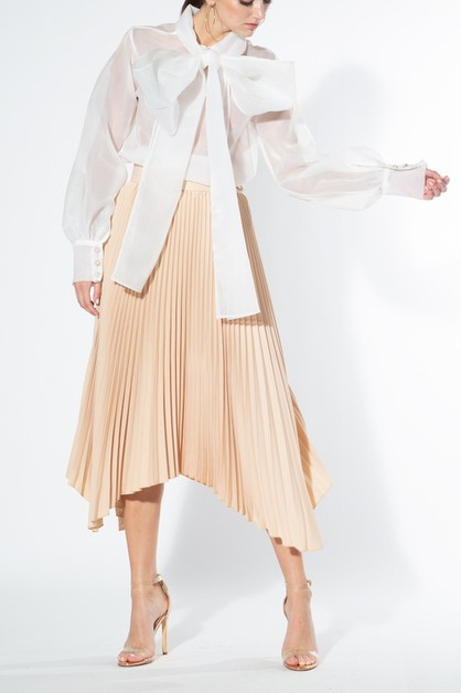Pleated Skirt with Handkerchief Hem - orangeshine.com