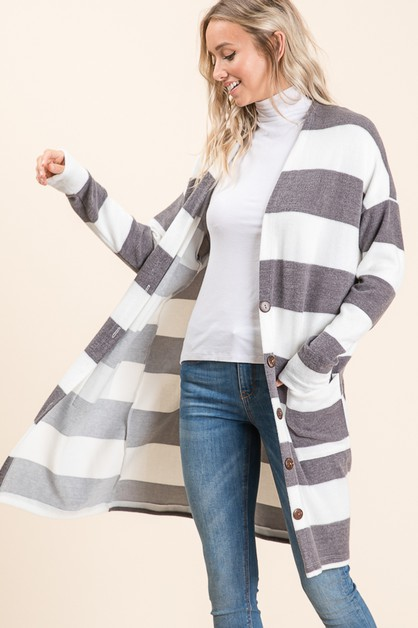 Striped Long Sleeves Button Cardigan - orangeshine.com