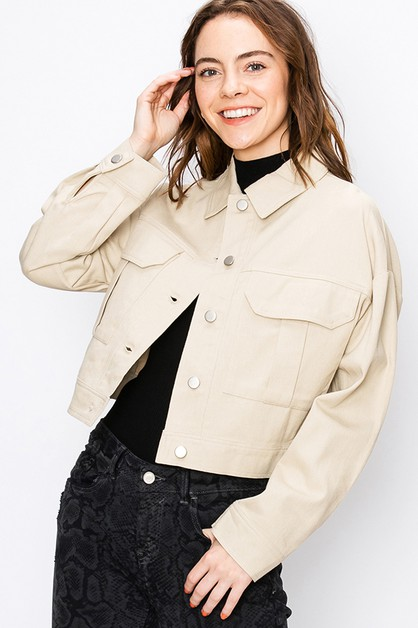 BUTTON UP JACKET WITH FRONT POCKETS - orangeshine.com