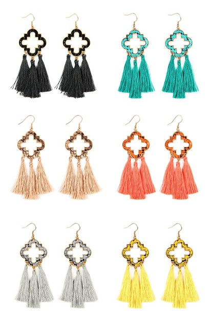 THREE TASSEL DROP HOOK EARRINGS - orangeshine.com