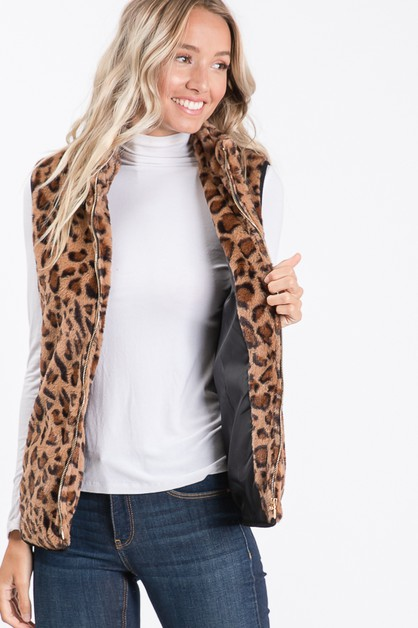 ANIMAL PRINT FAUX FUR VEST - orangeshine.com