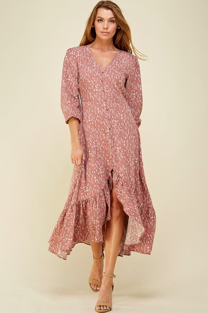 Buttoned floral maxi dress - orangeshine.com