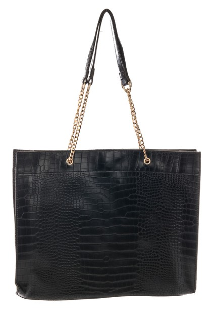 Faux Alligator Chain Strap Tote Bag - orangeshine.com