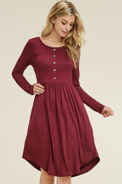 LONG SLEEVE BUTTON DETAIL MIDI DRESS - orangeshine.com