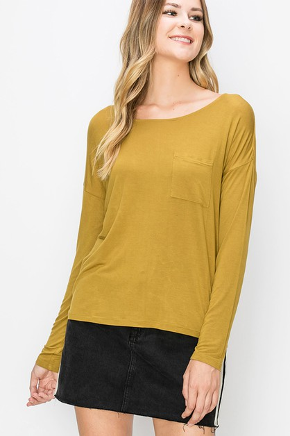 WIDE NECK LONG SLEEVETOP WITH POCKET - orangeshine.com
