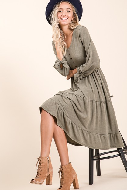 Button Front MidiDress - orangeshine.com