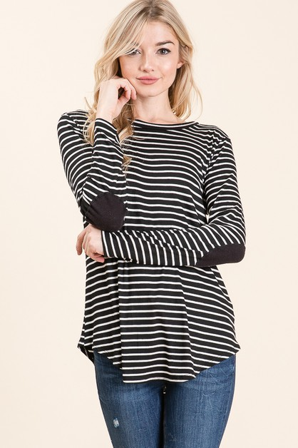 STRIPED LONG SLEEVE ELBOW PATCH TOP  - orangeshine.com
