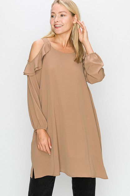 COLD SHOULDER SHIFT DRESS - orangeshine.com