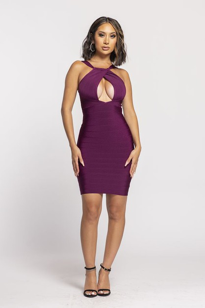 Front Keyhole Bandage Mini Dress - orangeshine.com