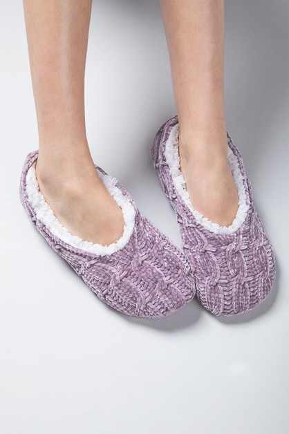 Chenille Cable Knit Slipper Sock - orangeshine.com