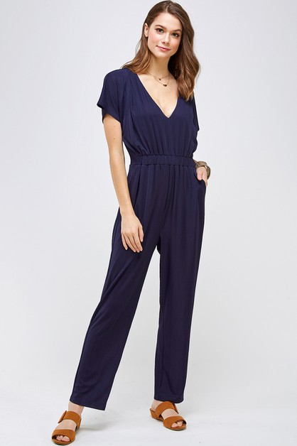 Short Sleeve Textured Jumpsuit - orangeshine.com