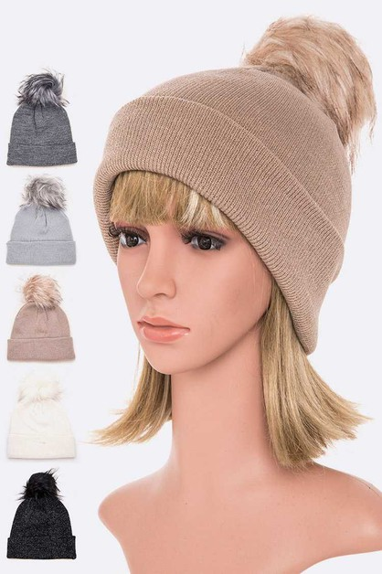 Flat Knit Faux Fur Pom Beanie Set - orangeshine.com