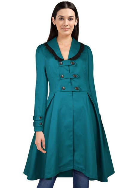 Plus Size Turquoise Buckle Jacket - orangeshine.com