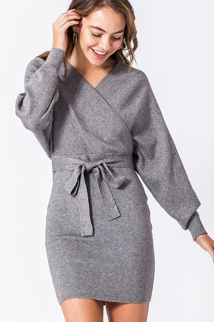 DOLMAN SLEEVE SWEATER DRESS - orangeshine.com