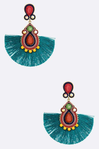Crystal Iconic Tassel Earrings - orangeshine.com