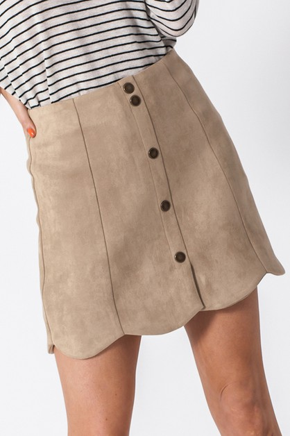 SCUBA SUEDE SCALLOP SKIRT WITH FRONT - orangeshine.com