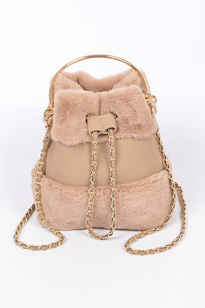 Fur lined drawstring clutch bag - orangeshine.com