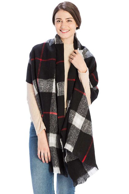CHECKER PLAID PATTERN SCARF - orangeshine.com