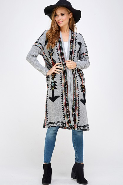 AZTEC KNIT SWEATER OPEN CARDIGAN - orangeshine.com