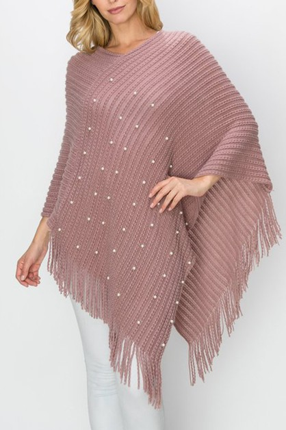 FAUX PEARL PONCHO WITH FRINGES - orangeshine.com