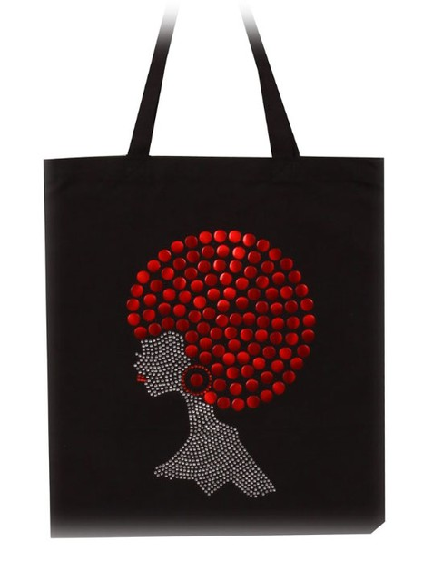 New Red Pompom Hair Afro Girl Tote - orangeshine.com