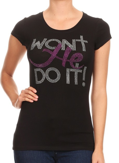 WON`T HE DO IT! Purple Rhinestud - orangeshine.com