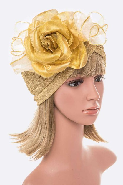 Organza Flower Metallic Turban Hat - orangeshine.com